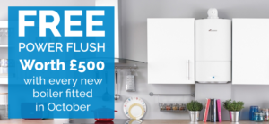 Free power flush worth £500 with every new boiler